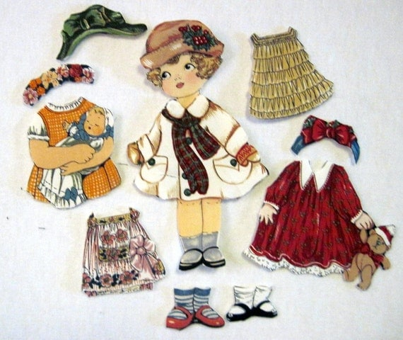 Fabric Paper Doll with  outfits (Annie)