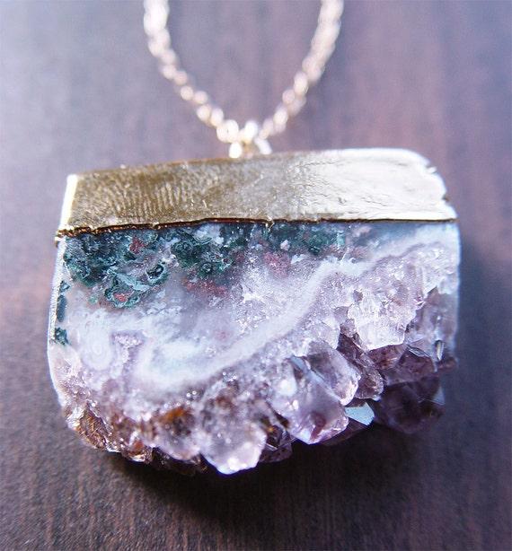 Amethyst Stalactite Druzy Necklace 14k Gold OOAK