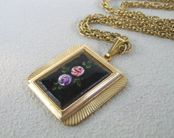 Vintage Black Enamel Rose Necklace Handpainted Pendant