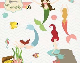 Instant Download -Mermaids: Digital Clipart Set