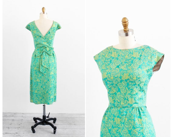 vintage 1950s dress / 1960s dress / Tiffany Blue and Green Floral Damask Cocktail Dress with Huge Bow