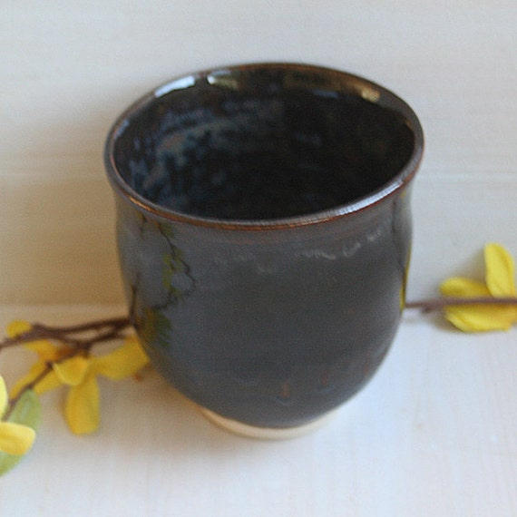 Simple Black Copper Brown Glazed Tea Cup - Handmade Ceramic Pottery Cup - Stoneware Cup
