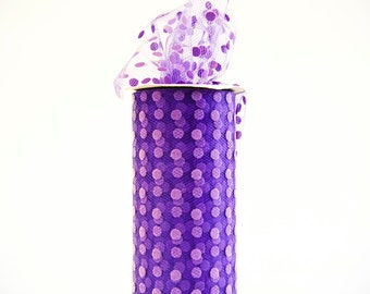 Polka Dot Tulle Spool, Purple, 6 inches wide, 25 yards