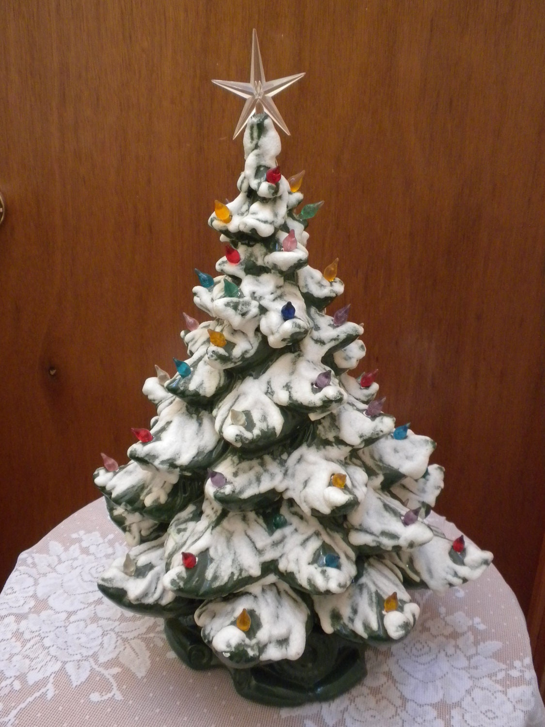 Christmas Tree 20 Inches Vintage Ceramic Lights Up By Brixiana