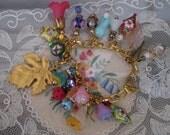 Autumn Floral Charm Bracelet  Goldplate Women Teens