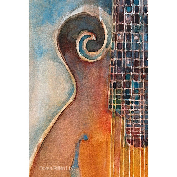 Another Mandolin  Print - Music Art Series from Original Watercolors - Size 8.5 x 11