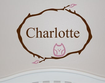 Vinyl Wall Decal - Branch Monogram with Owl