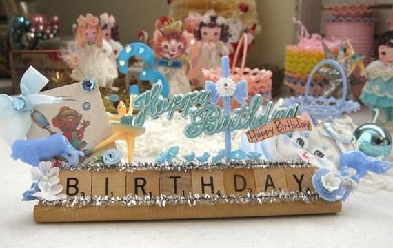 Birthday Scrabble Tile Vintage Inspired Happy Birthday Decoration