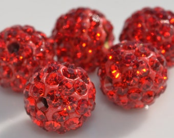 5 Shamballa 10mm Round Red Bead BD325