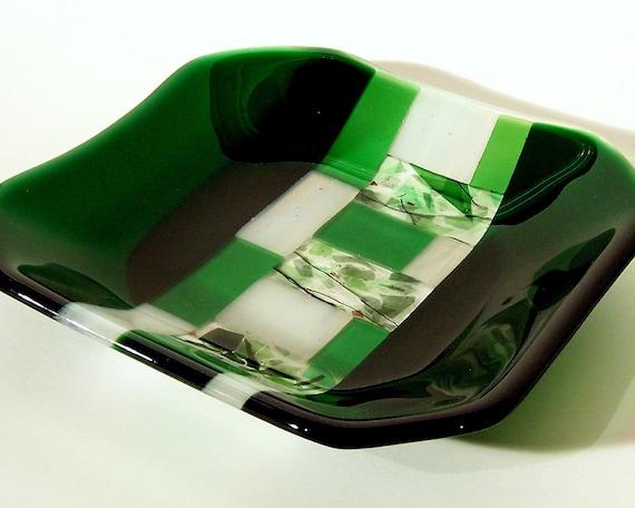 Emerald Green Geometric Fused Glass Bowl