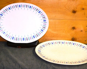 2 BOONTONWARE PLATTERS Oval Plates Vintage Atomic Blue Pattern Serving Dinner 12.5 inches Kitchenware Kitchen CrabbyCats Crabby Cats
