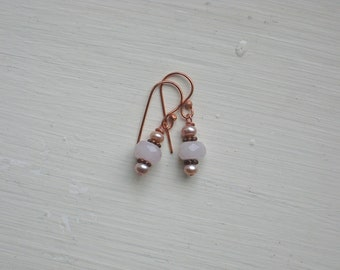 CLEARANCE: Faceted Rose Quartz and Mauve Freshwater Pearl Earrings on Copper