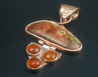 Copper, Dryhead Agate, and Carnelian Hinged Pendant