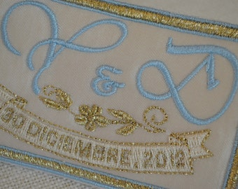 Custom Embroidered Wedding Dress Label French Silk Satin, Light blue with Gold Thread