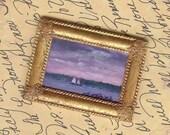 Original  lMiniature  Painting Sailing off the Coast of Conneticut