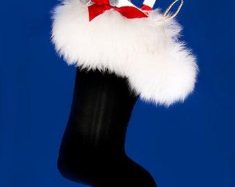 Black Velvet and Fur Christmas Stocking, Reversible
