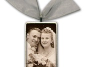 "Wedding Bouquet Photo Charm Bridal Bouquet Memory Charm WITH ENGRAVING -Silver Pewter - Rectangle 1"" 1/4"" x 3/4"""