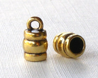 12 gold leather jewelry End Caps with loop . 4mm inside diameter (EC8ag)