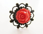 Coral rose ring.  In antiqued brass.  Victorian meets modern day aesthetic.