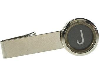 Vintage Typewriter Key Initial Tie Clip (silver)