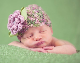 Newborn Flapper Style Beanie, Pink Rose and Green 0 to 3 month Baby Girl Photo Prop Hat