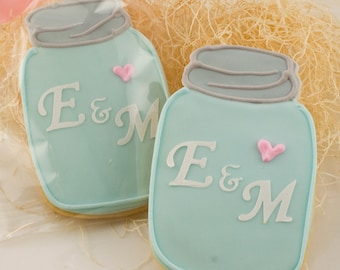 Mason Jar Cookies, Monogrammed, Vintage - 12 Decorated Sugar Cookie Favors