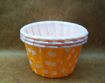 Cute Polka Dots on Mandarin 1 1/2-inch cupcake cups (set of 25)