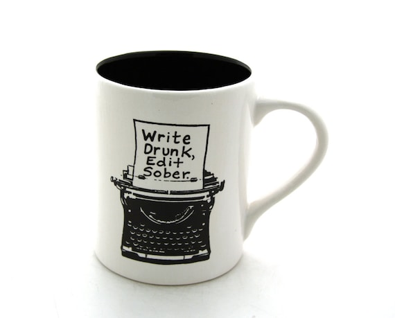 Writers Mug with Typewriter Funny Gift for Author or Lover of Writing, large 16 oz kiln fired ceramic coffee mug