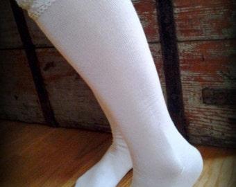 Get ur Prairie Chic Knee Hi Boot  Cream Socks