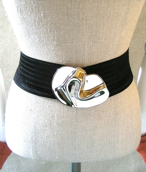 Charmant Beverly Hills belt - black stretch woven with silver abstract buckle - like new designer accessories