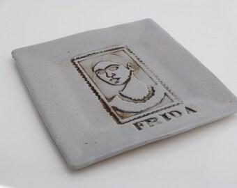Ceramic dish stoneware plate handmade serving platter table art Frida Kahlo