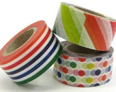mt Washi Masking Tape - mt for kids - Colourful Stripes & Spots - Set 3