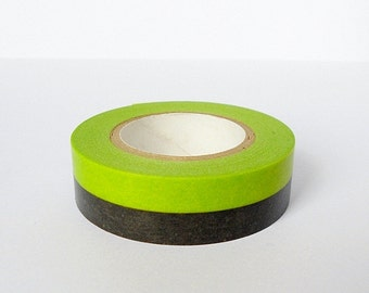 Washi Masking Tape - 2 Tone Green & Black - Limited Edition - Tokyu Hands (15m roll)