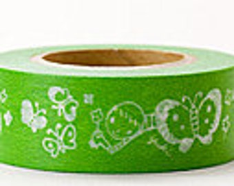 Delfonics Washi Masking Tape - Green Butterflies  - Wide - Snih