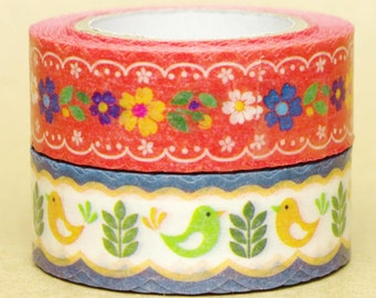 NamiNami Washi Masking Tape - Bavarian Flowers & Bird