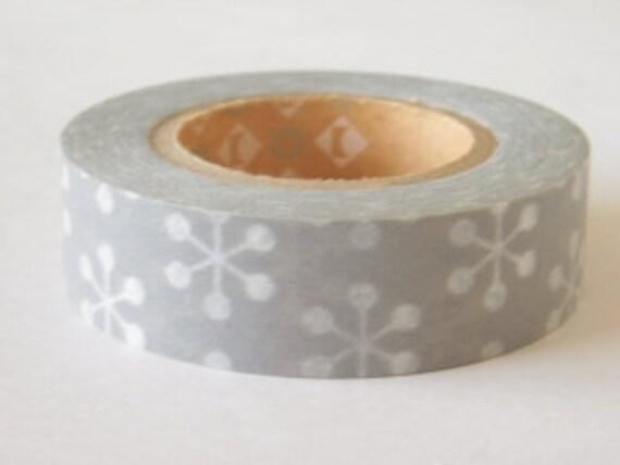 mt Washi Masking Tape - Grey Snowflakes (15m rolls)