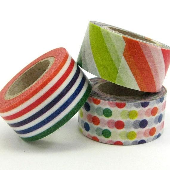 mt Washi Masking Tape - mt for kids - Colourful Stripes & Spots - Set 3