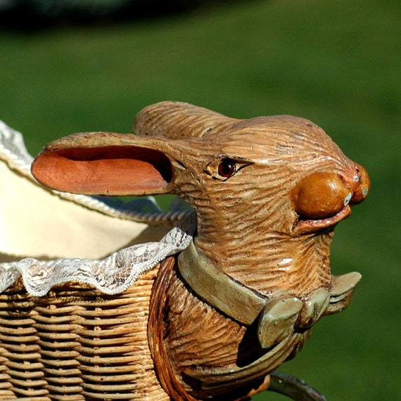 antique baby doll buggy, pram, carriage, stroller with carved rabbit's head  L
