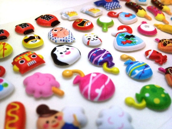 Cute Kawaii Japanese Puffy Stickers-  Carnival & Celebration : Colorful Yummy Japanese Delicacies  - from Mind Wave Inc