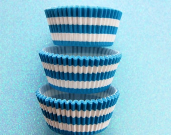 Light Blue Bold Striped Cupcake Liners Standard Size 50 per pack
