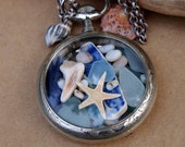 Sea Glass Pocket Watch Pendant Antique French Silver 1890s Lost Treasure
