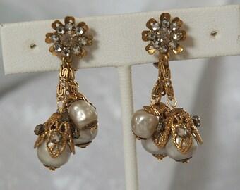 Early Miriam Haskell Earrings, Vintage Bride, Crystal Montees, Japanese Dimple Glass Pearls, Beautiful, Clean, All Original Except Headpins