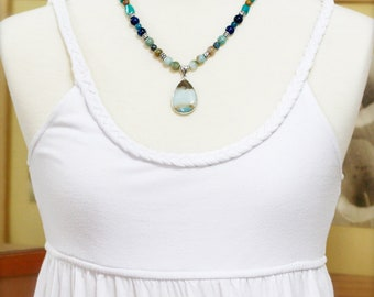 Calm and purification necklace - amazonite, turquoise and agate.