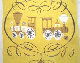 Tammis Keefe Linen Towel Gold Trains