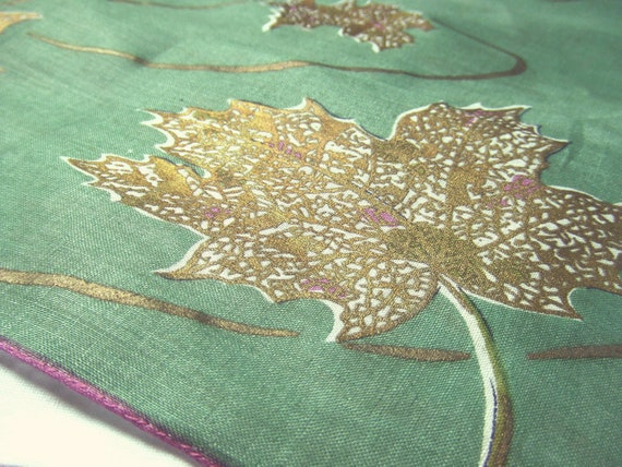 Vintage Green Linen Handkerchief Gold Metallic Leaves