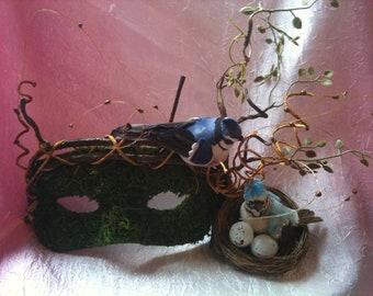 Woodland Family, Blue Bird, Bird Nest, Wall Hanging, Wall Art, Forest Nymph, Masquerade Mask