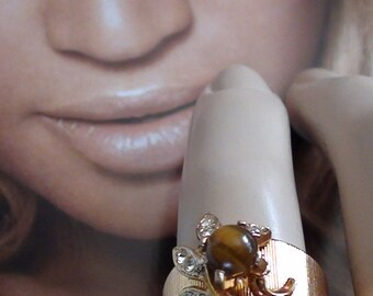 Repousse Ring Tiger Eye and Czs  Swirl SPRAY Ring In 14kt HGE Vermeil Sterling SIZE 9