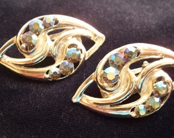 Vintage AB Aurora Borealis Glass Rhinestone Earrings
