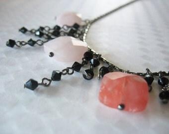 Fringe Necklace Pink Black Quartz Choker