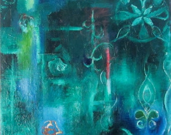 "Original abstract oil painting 40 cm x 40cm (16"" x 16"") Faery court, oil on canvas,  by Romany Steele"